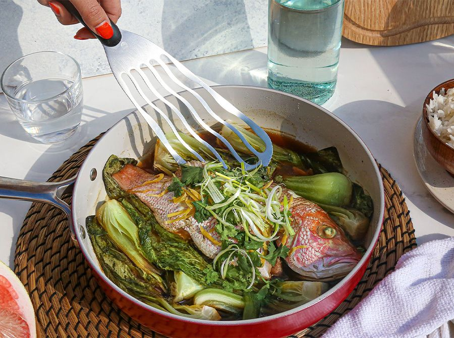 Image for Cantonese-Style Steamed Snapper with Scallions & Ginger