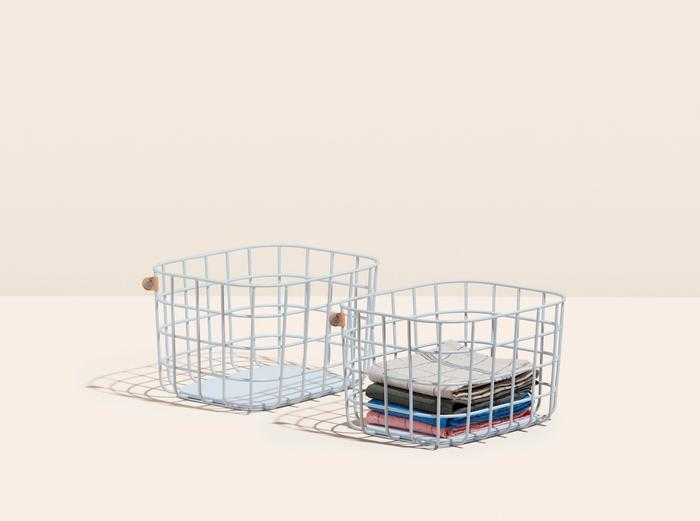 Image for Medium Wire Baskets - Set of 2 - Light Blue