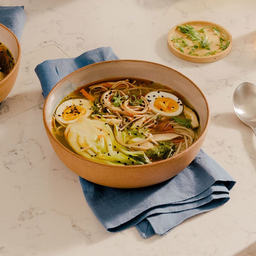 Image for Spicy Miso Soup with Soba Noodles, Mushrooms & Bok Choy
