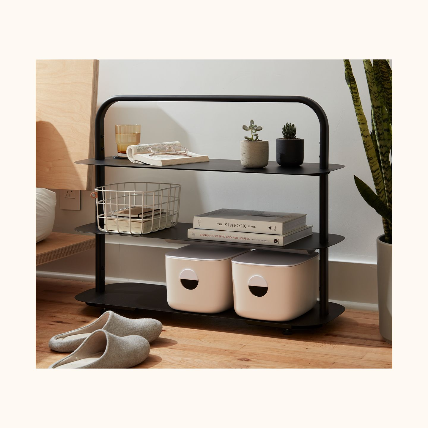 Black Entryway Rack with Basket and Bins