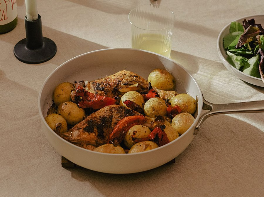 Image for Crispy Chicken Legs with Roasted Peppers & Potatoes