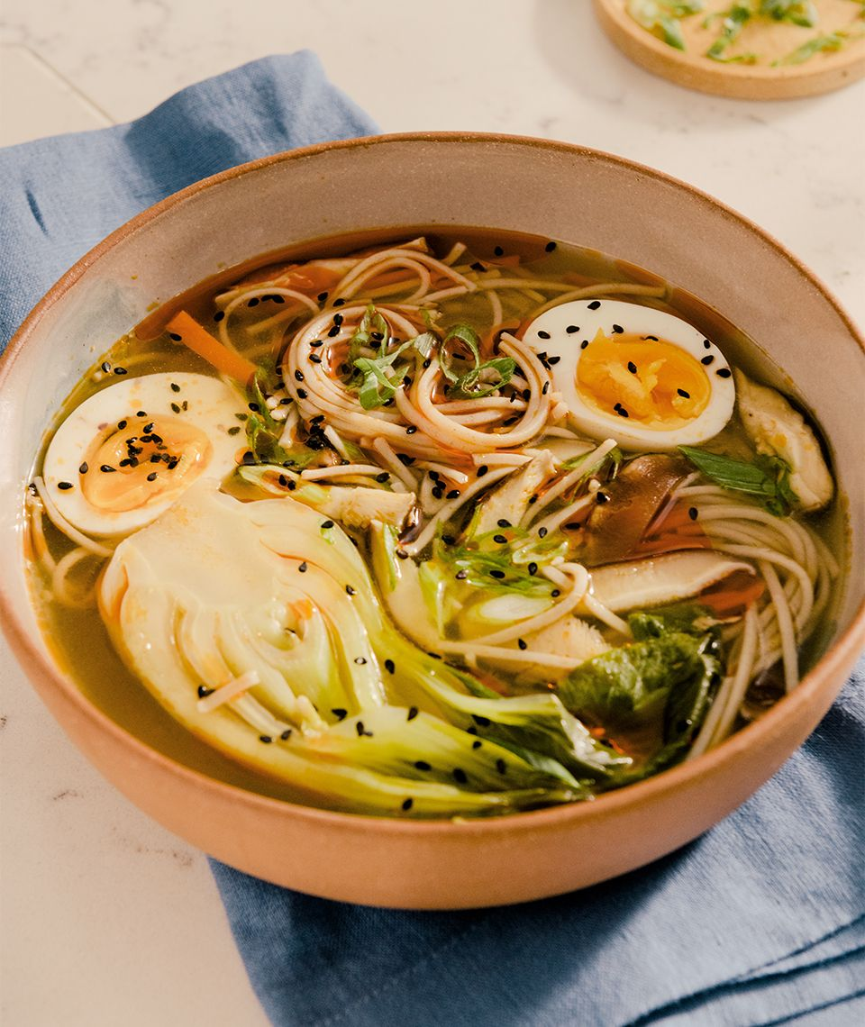 Spicy Miso Soup with Soba Noodles, Mushrooms & Bok Choy