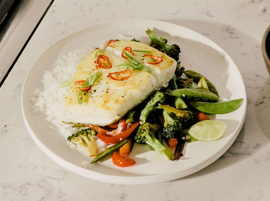 Image for Cilantro-Lime Seared Halibut with Fresno Chilis