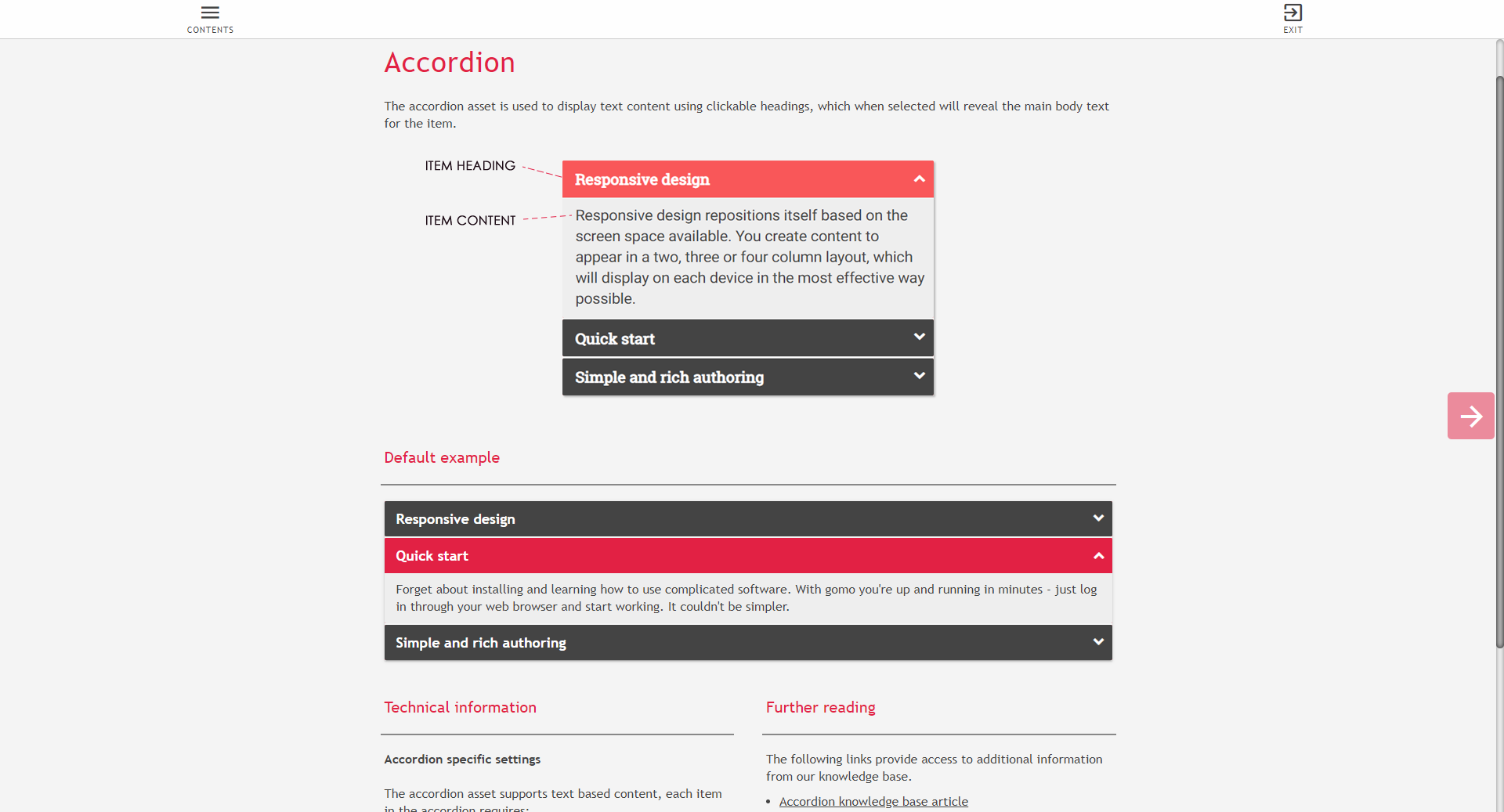 Example of Gomo learning accordion asset