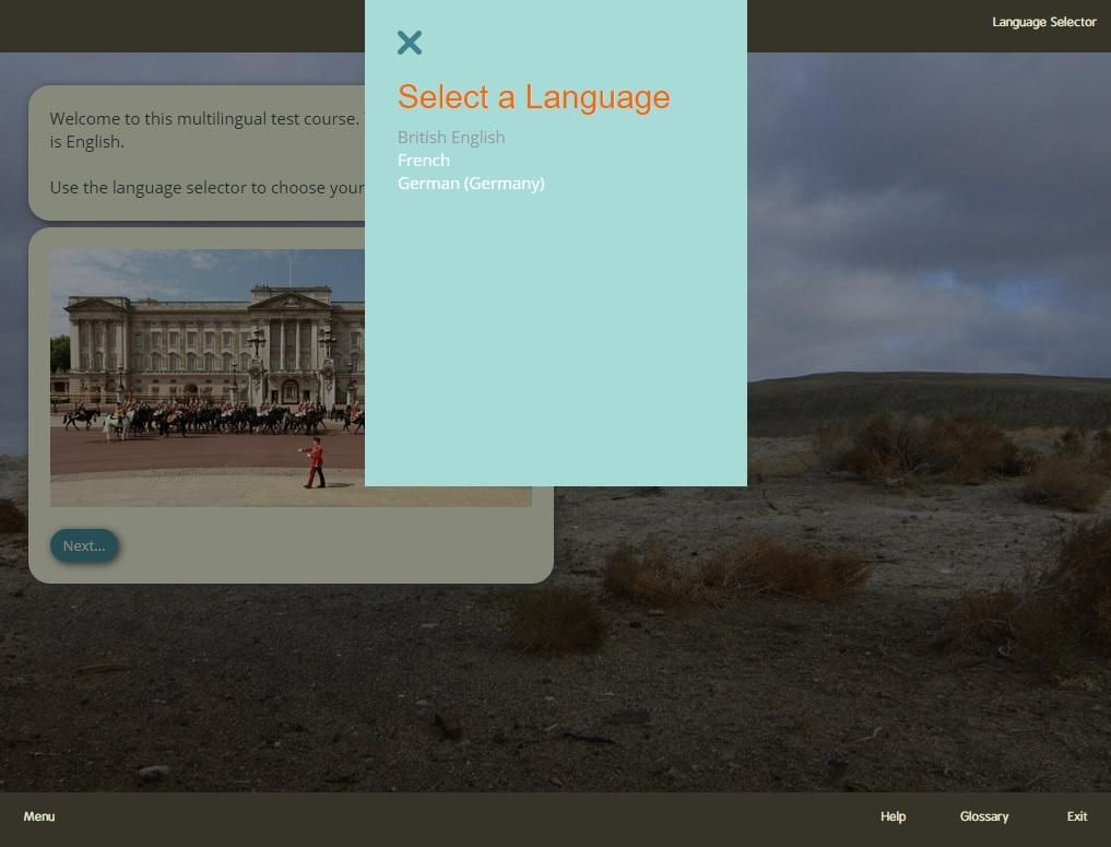 Language select in a sample Gomo course