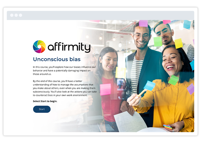 An eLearning screenshot of Diversity and Inclusion training by Affirmity, built using Gomo's eLearning authoring tool
