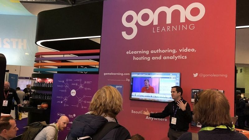 Jeff Fissel showcasing Gomo at Learning Technologies 2019