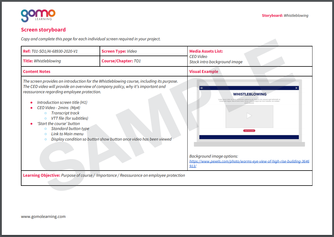 Example of Gomo screen storyboard template