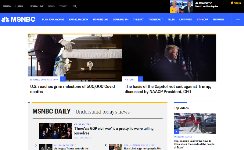 Screenshot of MSNBC website showing density of links, text and imagery