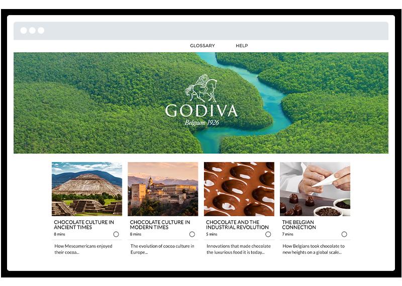 A screenshot of a Godiva eLearning course built using Gomo
