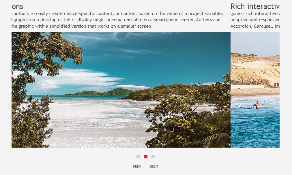 Screenshot example of Gomo's swipe carousel asset type