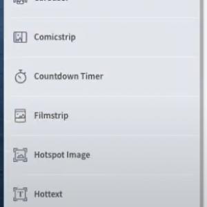 Gomo UI screenshot of icons in menu