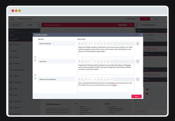 Gomo 2020 UI Refresh - topic editor - accordion edit