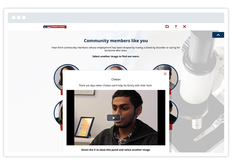 An eLearning screenshot by Hemophilia Federation of America, built using Gomo's eLearning authoring tool