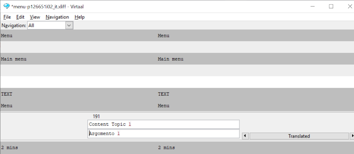 An example of the interface for a typical translation tool (screenshot from Virtaal)