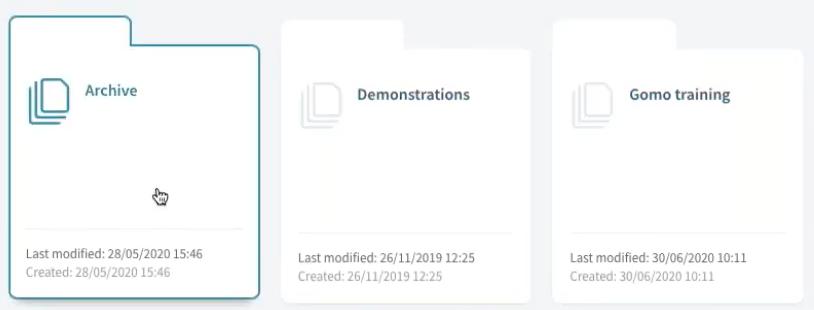 Gomo UI screenshot of course folders set up