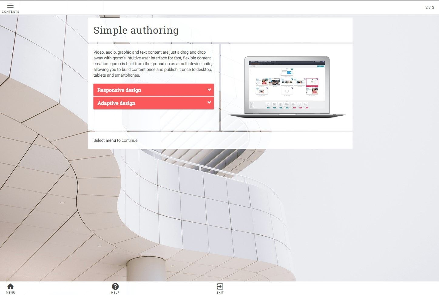 A photo of the Duo Gomo themes blog showing words on an elearning course against a white background