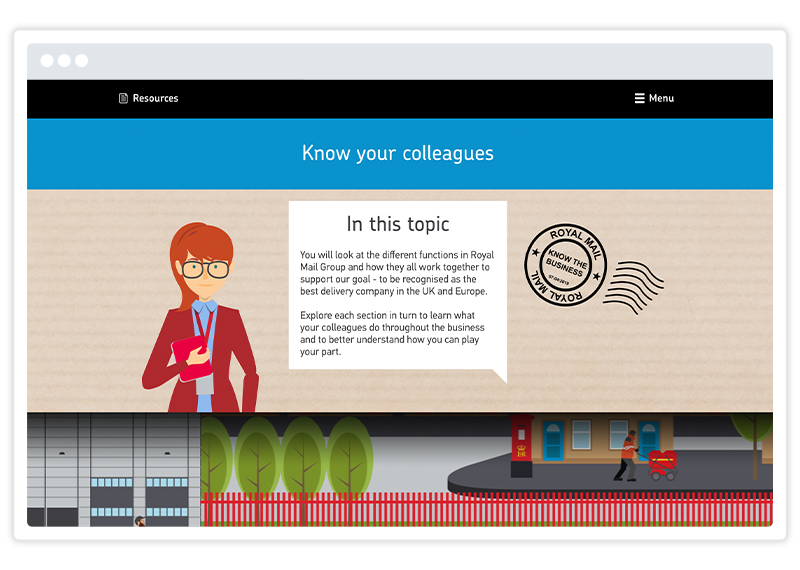 An eLearning screenshot by Royal Mail, built using Gomo's eLearning authoring tool