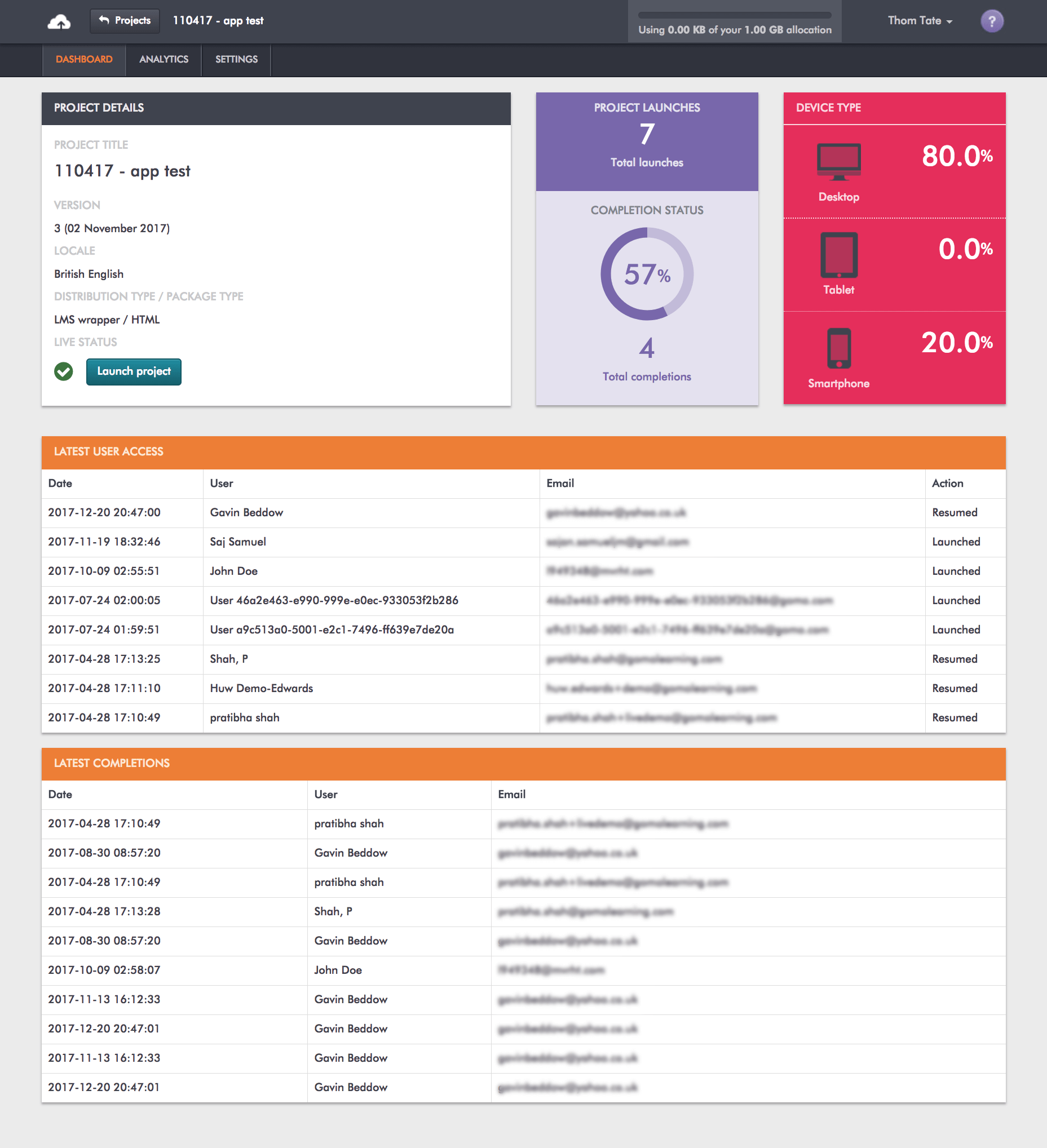 A screengrab from Gomo delivery of the xAPI analytics dashboard