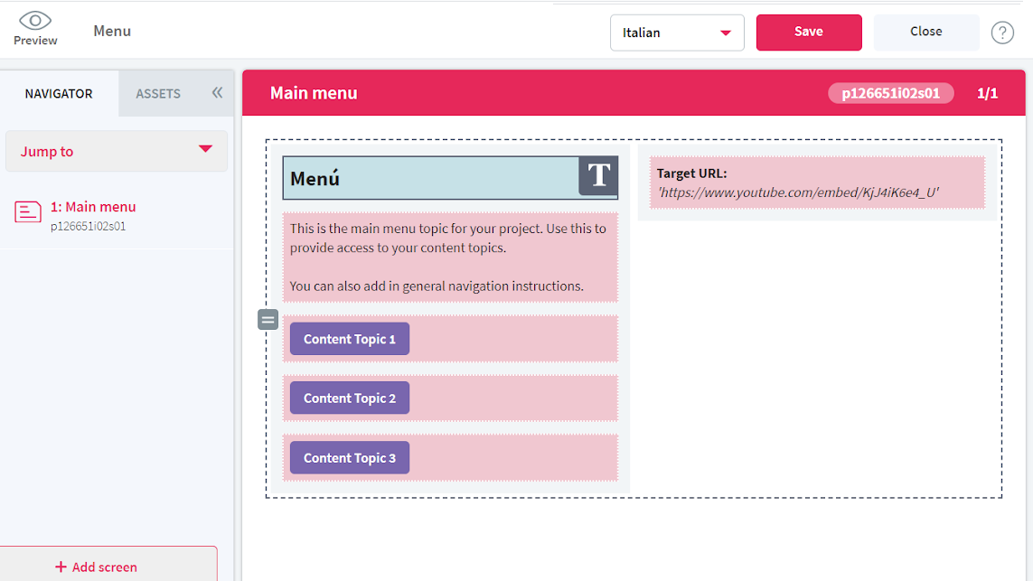 Screenshot showing an alternative to working with XLIFF—working directly in the editor