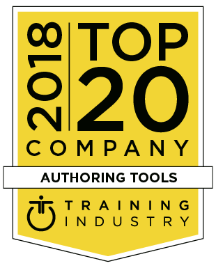 Training Industry 2018 Top 20 Authoring Tools award badge