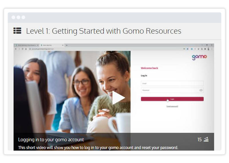 Example of self-service eLearning in the Gomo Academy interface