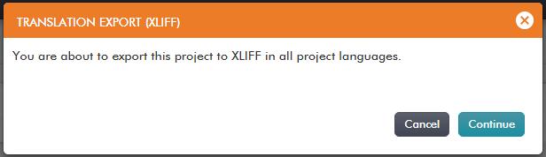 XLIFF translation export dialog