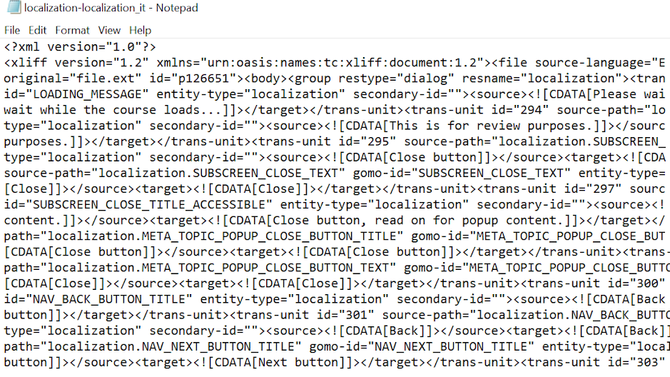 An example of what an XLIFF file looks like when opened in a text editor.
