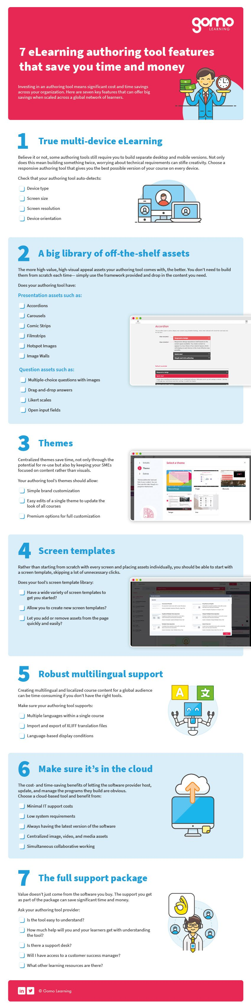 Full-size version of 7 eLearnign authoring tool features that save you time and money checklist