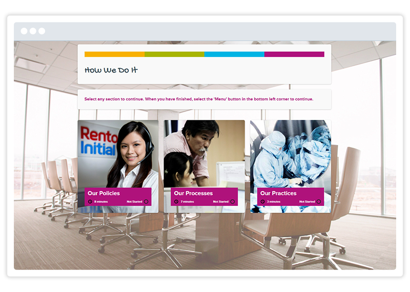 An eLearning screenshot by Rentokil Initial, built using Gomo's eLearning authoring tool
