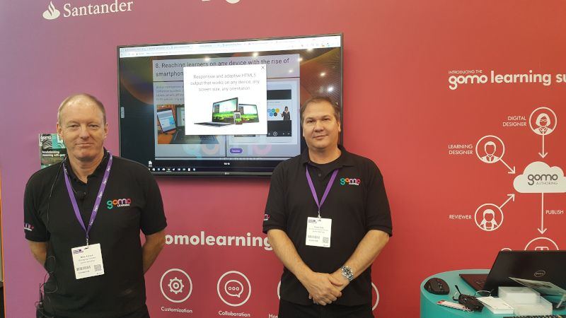 Gomo's Mike Alcock and Thom Tate at Learning Technologies 2018 where a lot of the discussion was about eLearning trends