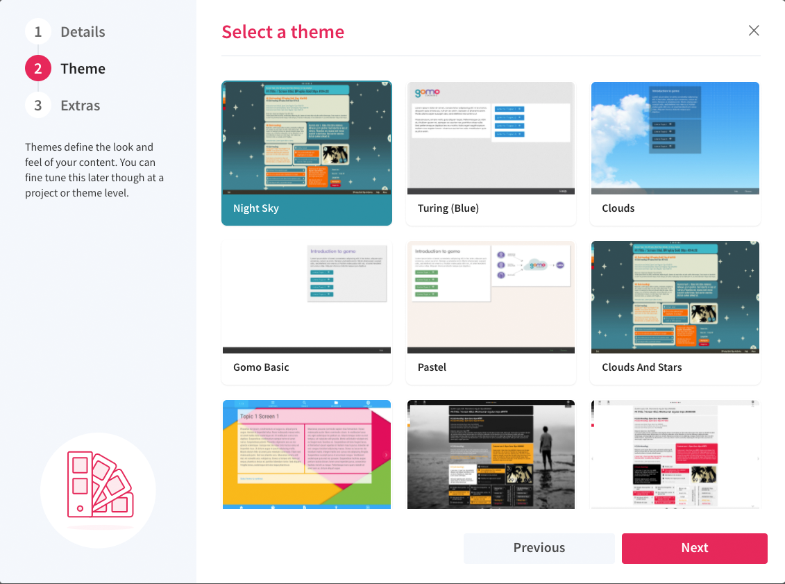 Examples of themes in Gomo