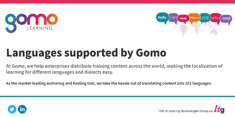 A diagram showing Gomo's multi-language capabilities for training a global workforce