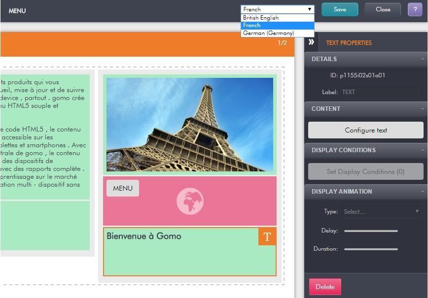 Gomo editor language selection example