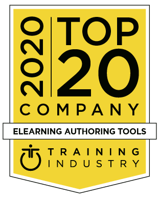 Training Industry 2020 Top 20 Company in eLearning authoring tools badge for Gomo