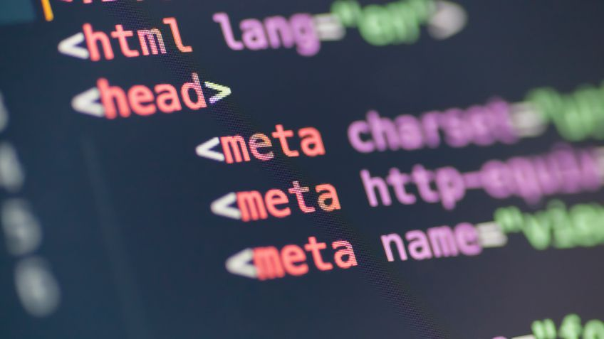 Closeup image of HTML being edited on a computer monitor