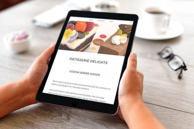 iPad with Godiva baked goods screen