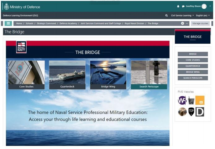 Defence Academy eLearning homepage