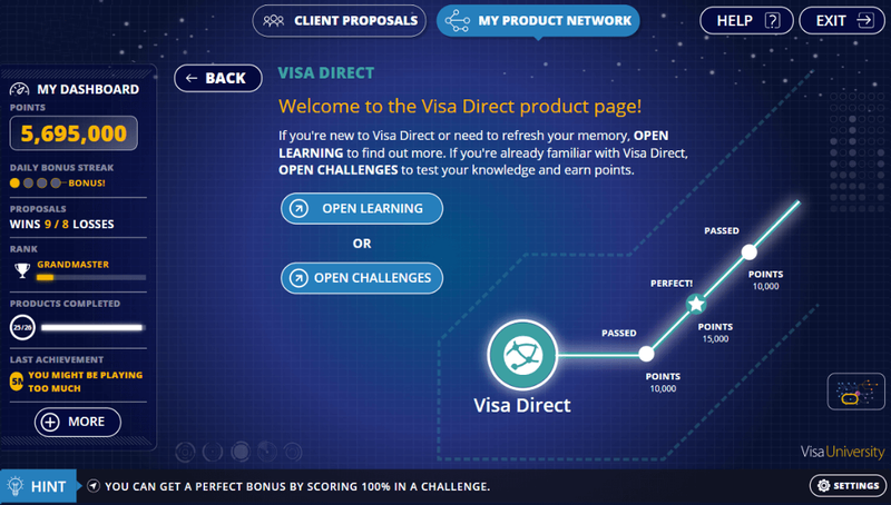 A screenshot from the product knowledge learning game and fully gamified platform that LEO Learning created for Visa