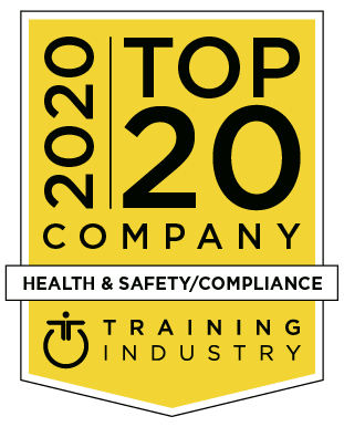 Award logo for LEO GRC which has been listed as a 2020 Top 20 Company Health & Safety/Compliance Training Company