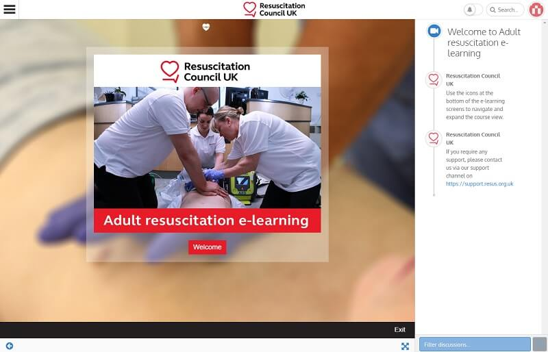 Screenshot of the Resuscitation Council UK elearning using Instilled LXP