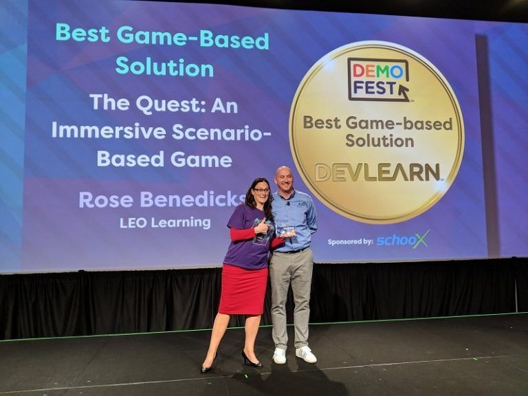 Rose Benedicks receiving Best game-based Solution award