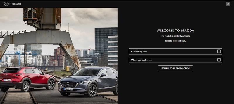 A screenshot of eLearning created for Mazda by LEO Learning