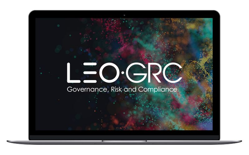 LEO GRC logo in laptop