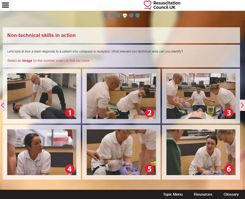 Screenshot of Resuscitation Council UK elearning, supporting the NHS to tackle the UK coronavirus outbreak
