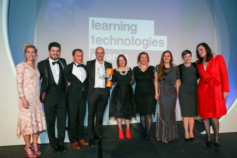 The LEO team and clients accepting the Learning Technologies Company of the Year award in 2017