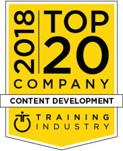 Top 20 2018 content development award logo