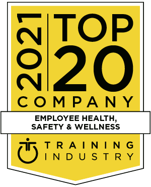 Yellow award logo with black text reading '2021 Top 20 Company Employee Health, Safety & Wellness'