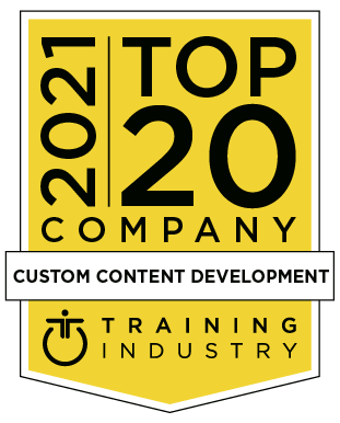 Yellow award logo containing the words 2021 Top 20 Company Custom Content Development Training Industry