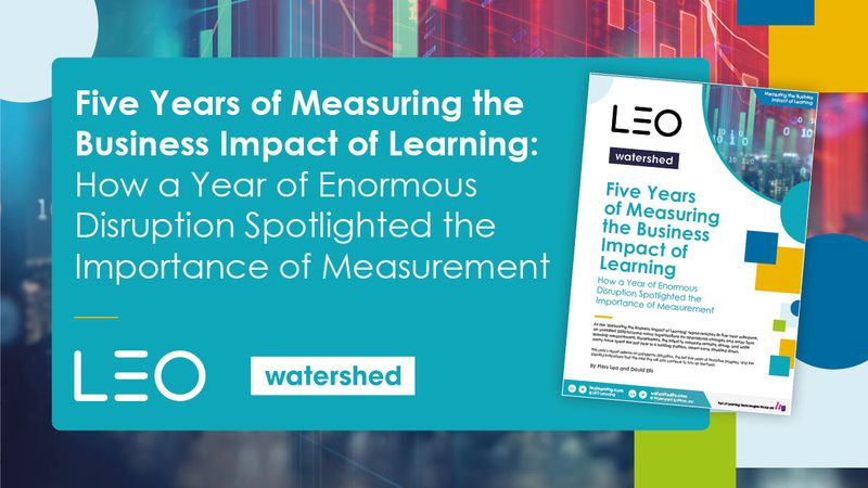 Cover of the Measuring the Business Impact of Learning report from LEO and Watershed